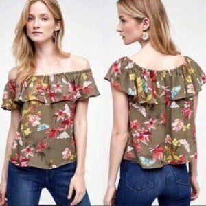 Anthro Maeve Vallita Butterfly Off Shoulder Top, S